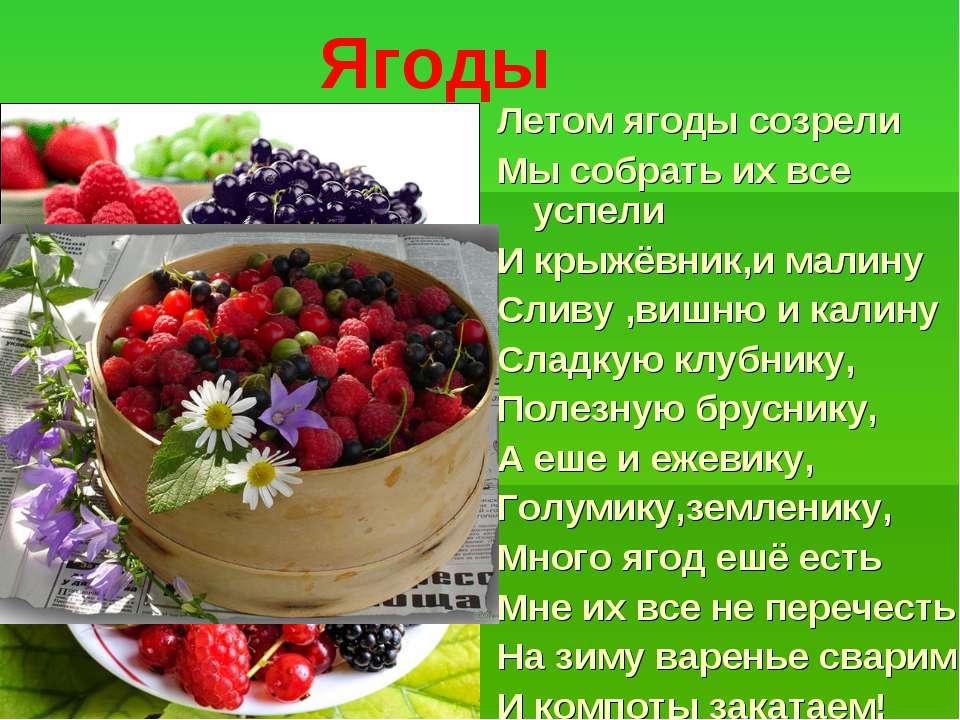 Ягоды Летом ягоды созрели Мы собрать их все успели И крыжёвник,и малину Сливу...