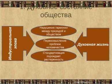 1. Духовное состояние общества Стандартизация порождает растерянность Переосм...