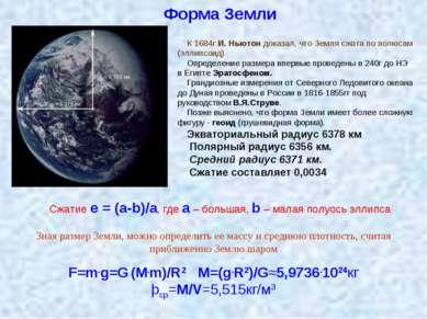 Форма Земли К 1684г И. Ньютон доказал, что Земля сжата по полюсам (эллипсоид)...