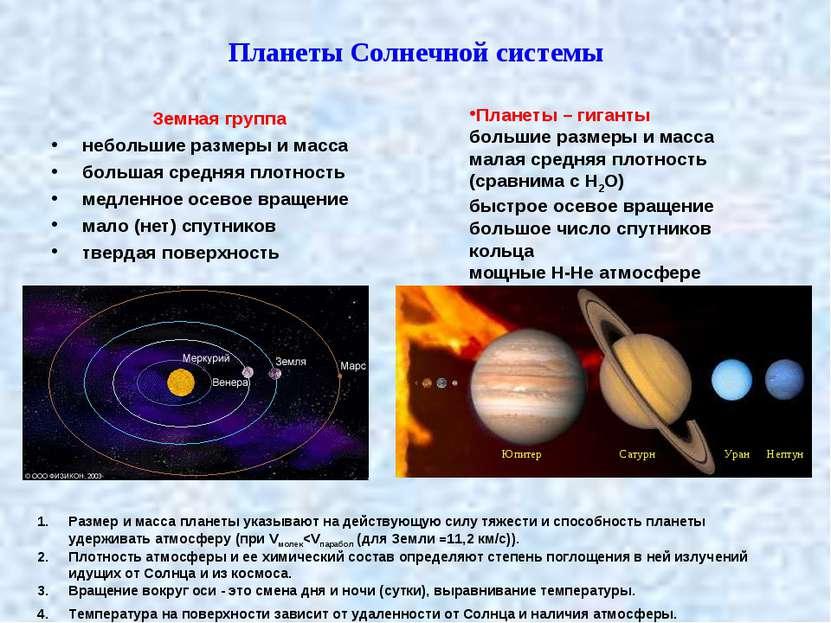 Планеты Солнечной системы Земная группа небольшие размеры и масса большая сре...