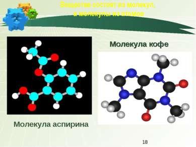 Вещества состоят из молекул, а молекулы из атомов Молекула кофе Молекула аспи...