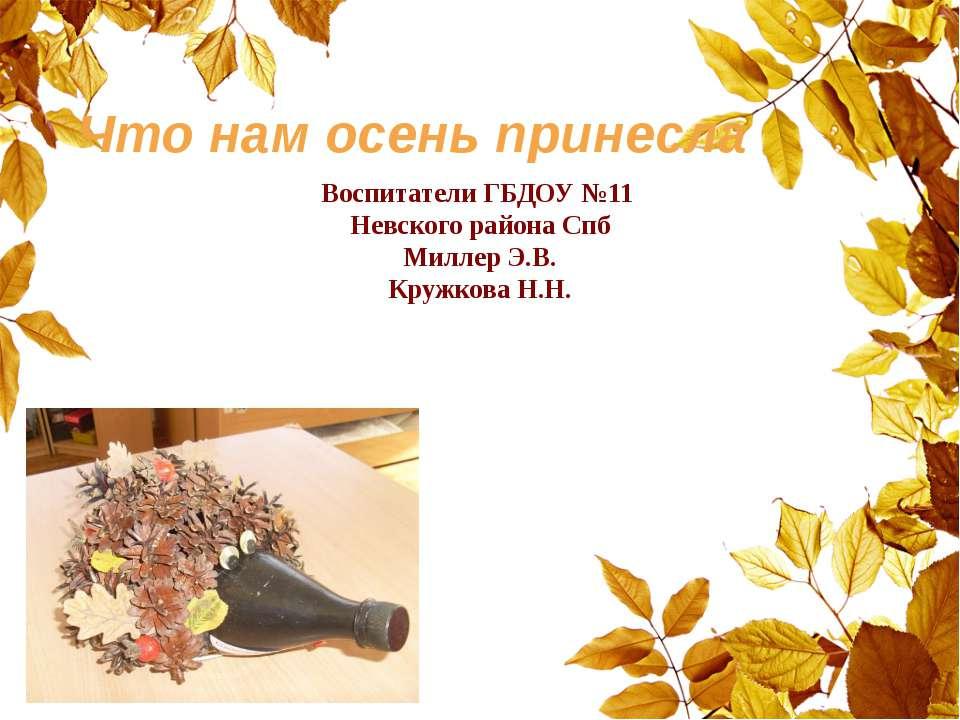 Что нам осень принесла Воспитатели ГБДОУ №11 Невского района Спб Миллер Э.В. ...