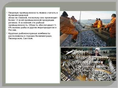 Пищевую промышленность можно считать в Калининградской области главной, поск...