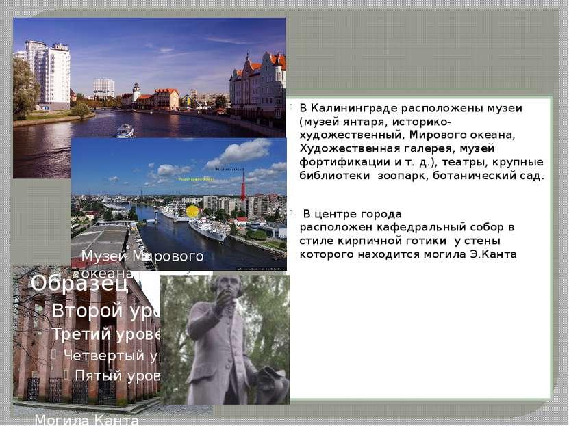 В Калининграде расположены музеи (музей янтаря, историко-художественный,Миро...