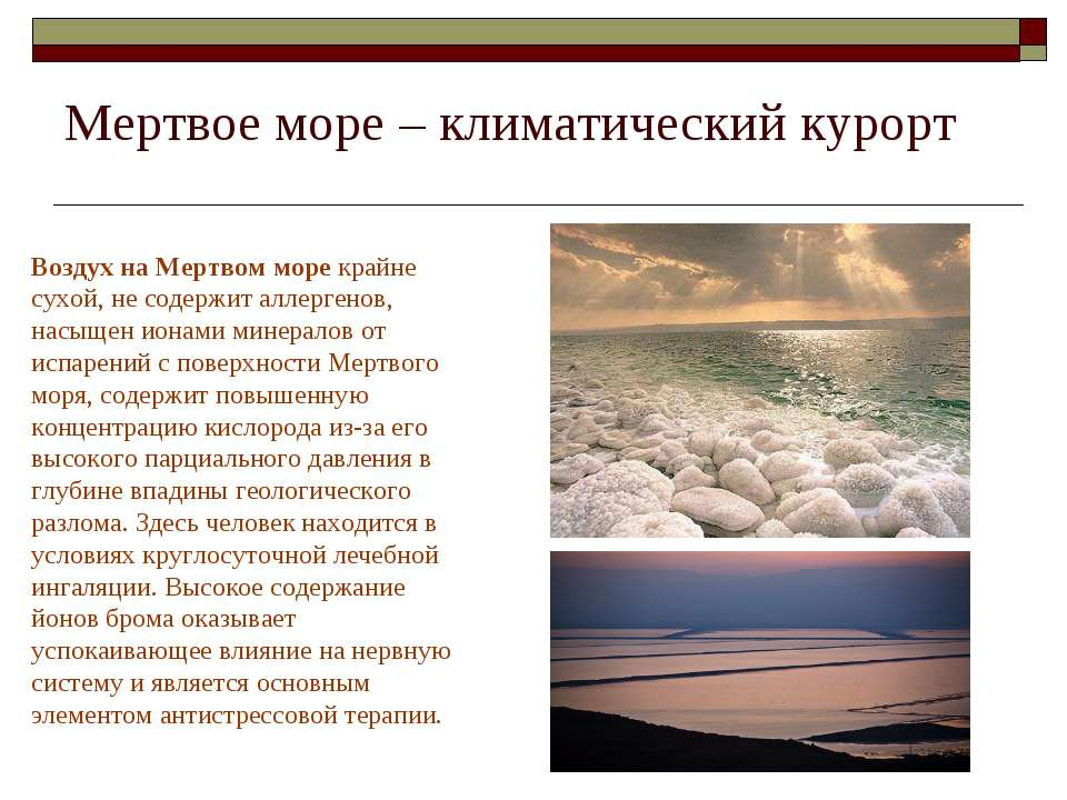 Мертвое море – климатический курорт Воздух на Мертвом море крайне сухой, не с...