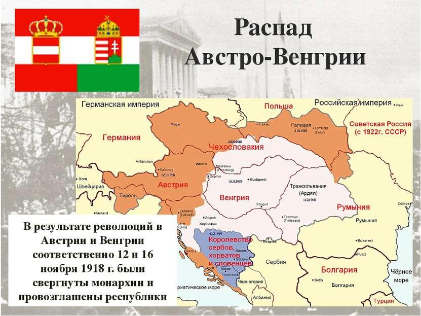 Распад Австро-Венгрии В результате революций в Австрии и Венгрии соответствен...
