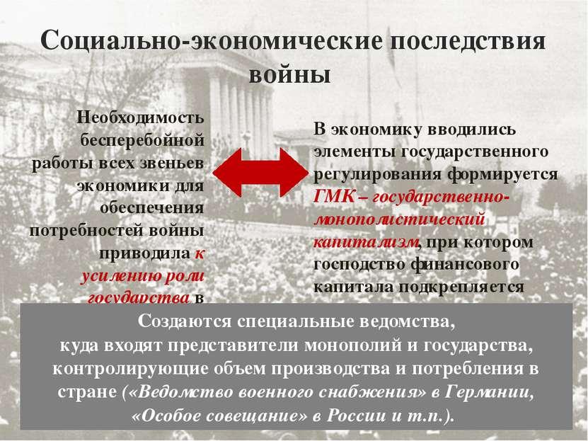 Социально-экономические последствия войны Необходимость бесперебойной работы ...