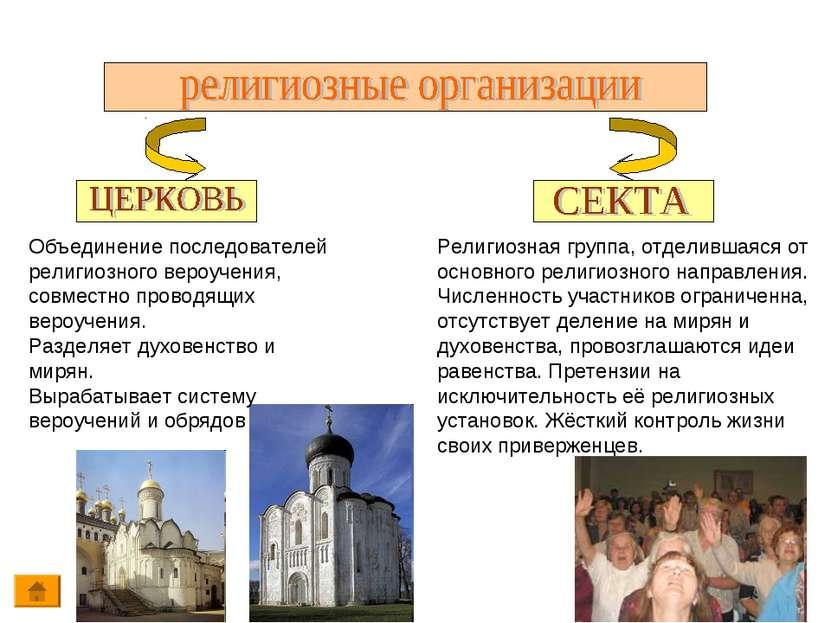 Объединение последователей религиозного вероучения, совместно проводящих веро...