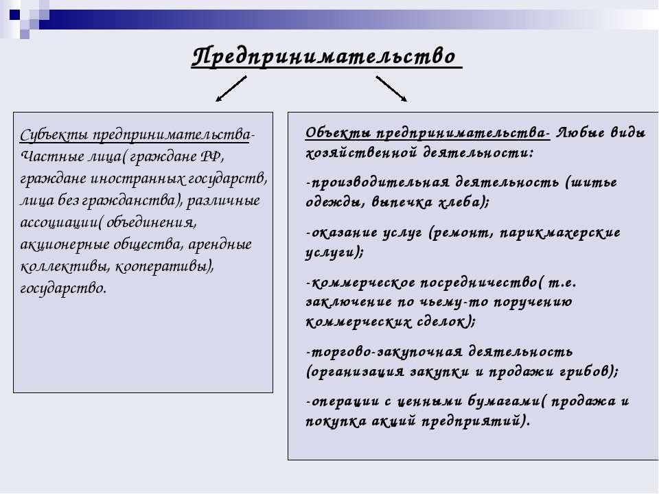 Предпринимательство Субъекты предпринимательства- Частные лица( граждане РФ, ...
