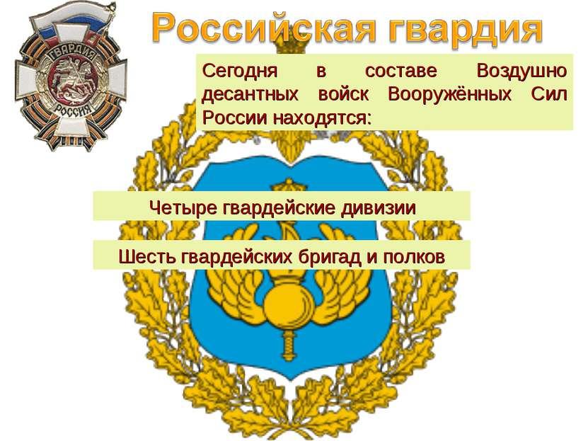 Четыре гвардейские дивизии Сегодня в составе Воздушно десантных войск Вооружё...