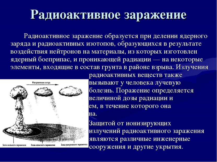 Радиоактивное заражение Радиоактивное заражение образуется при делении ядерно...