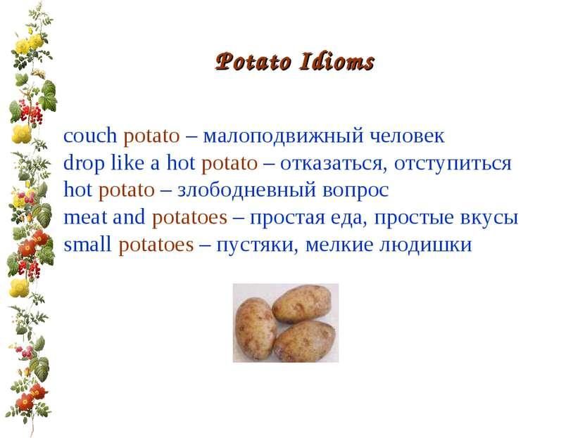 Potato Idioms couch potato – малоподвижный человек drop like a hot potato – о...