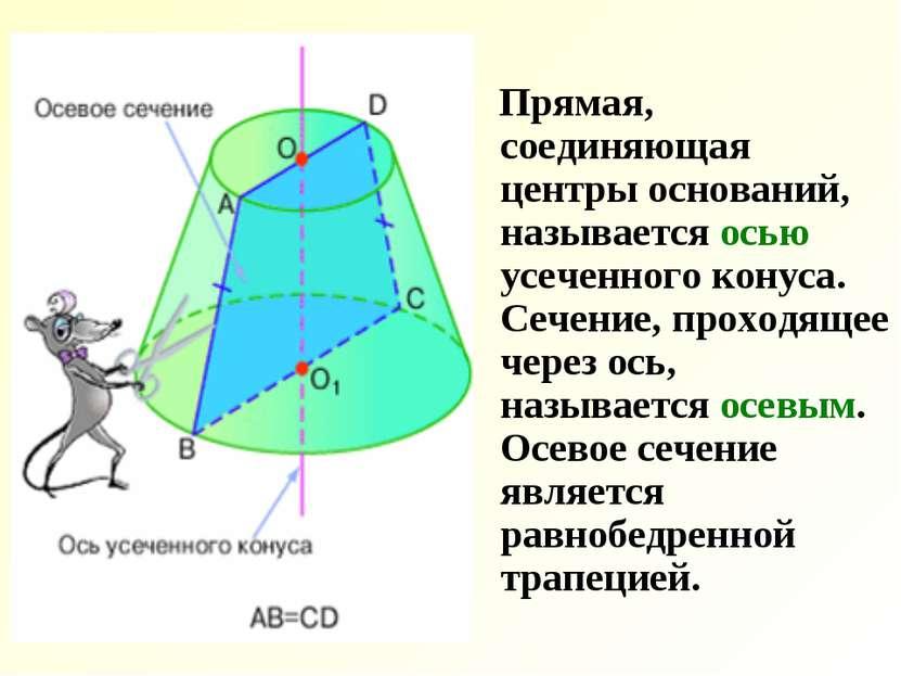 Прямая, соединяющая центры оснований, называется осью усеченного конуса. Сече...