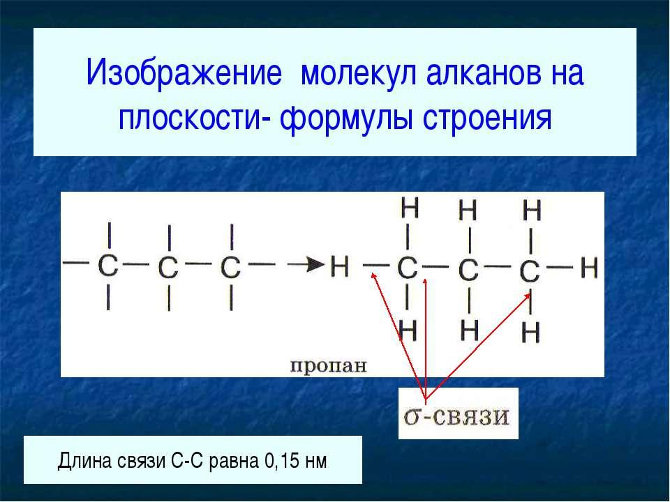 Изображение молекул алканов на плоскости- формулы строения Длина связи С-С ра...
