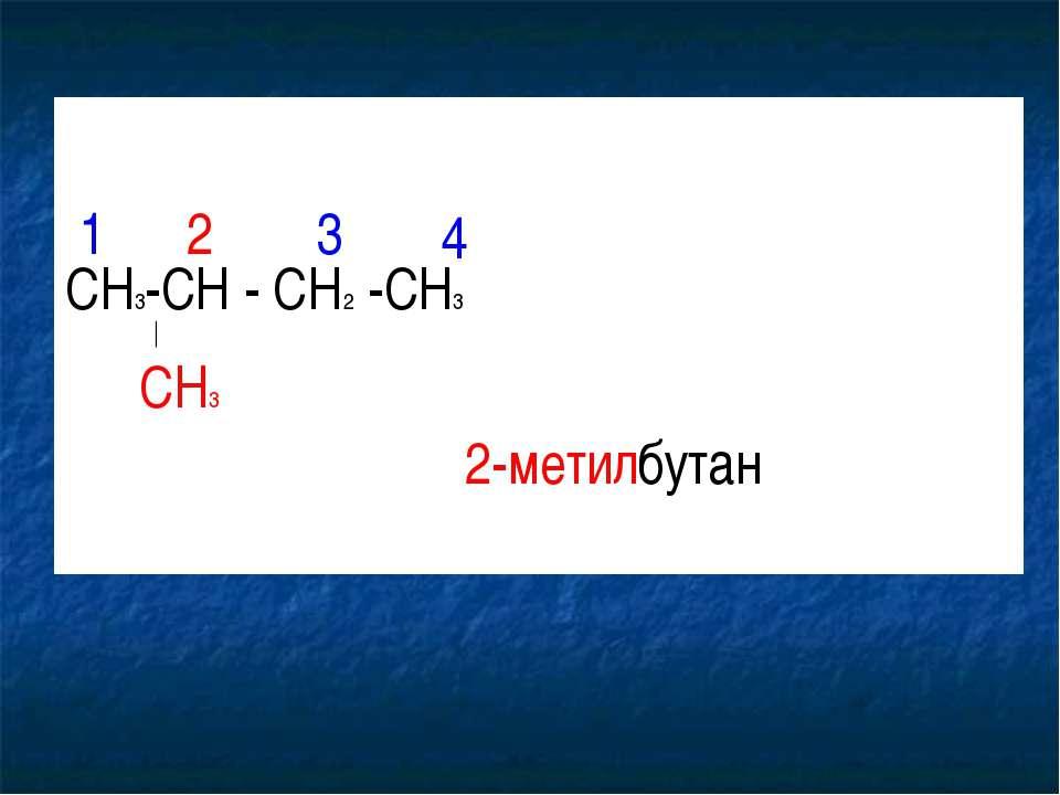 CH3-CH - CH2 -CH3 CH3 1 2 3 4 2-метилбутан