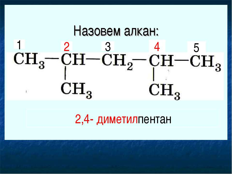 Назовем алкан: 1 2 3 4 5 2,4- диметилпентан