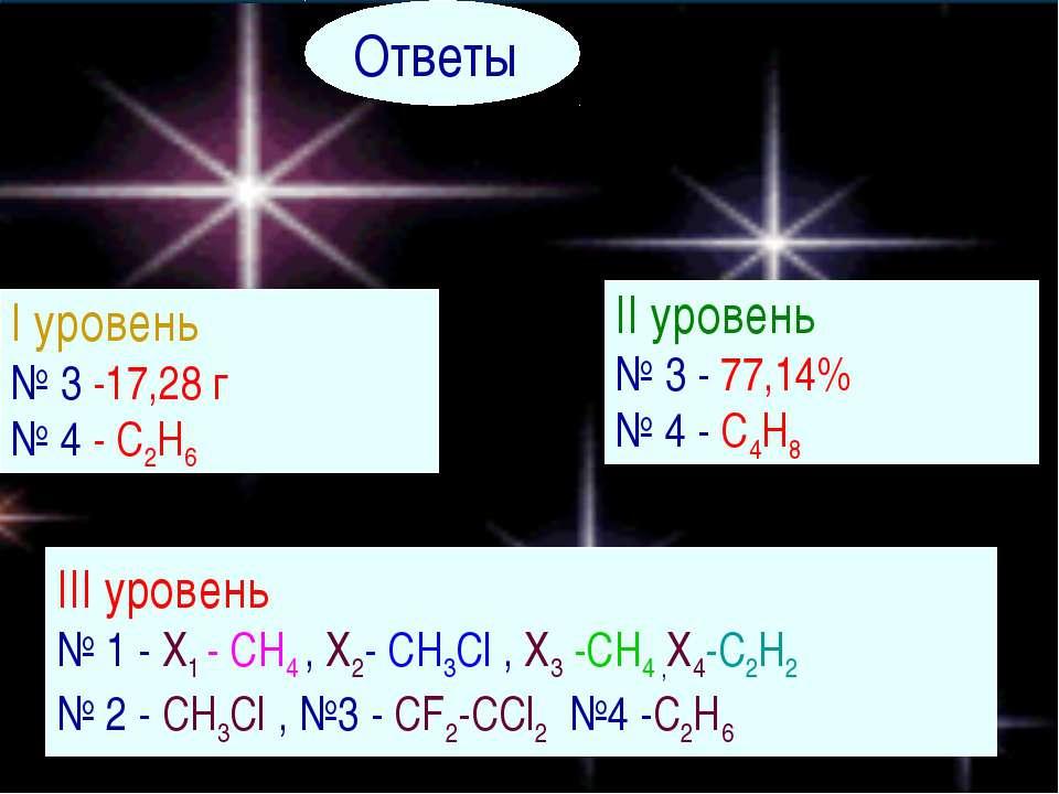 Ответы I уровень № 3 -17,28 г № 4 - C2H6 II уровень № 3 - 77,14% № 4 - C4H8 I...