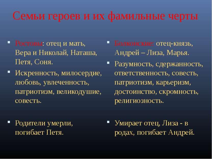 Семьи героев и их фамильные черты Ростовы: отец и мать, Вера и Николай, Наташ...