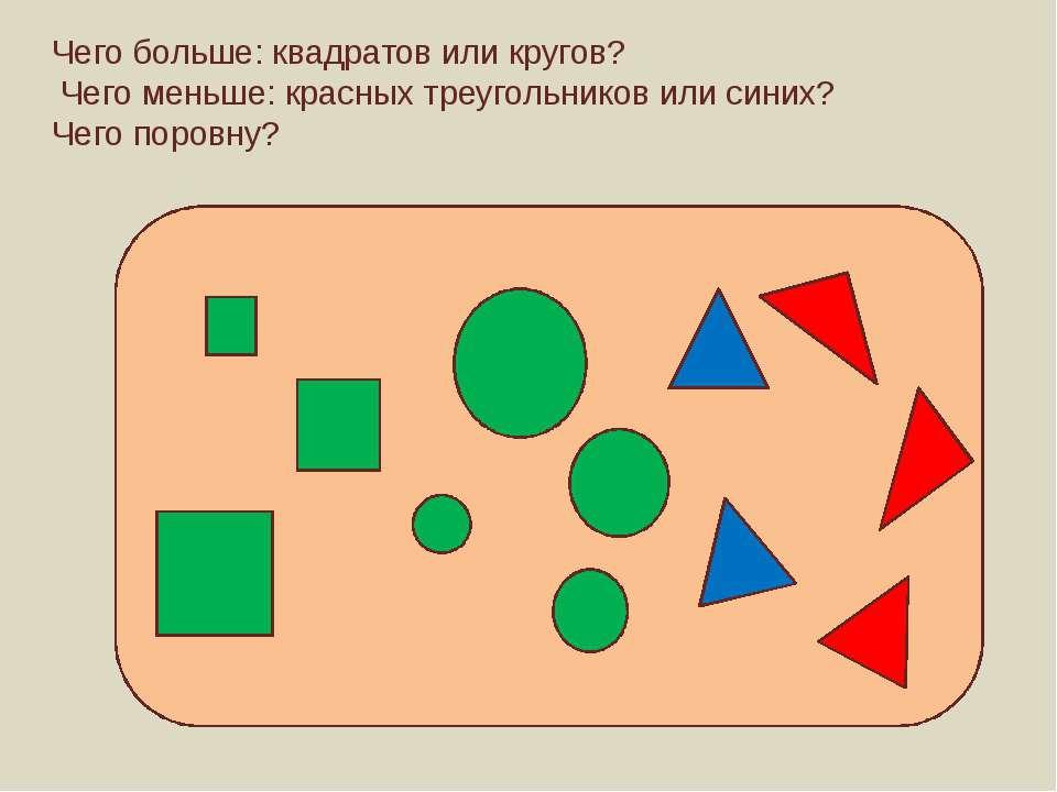 Чего больше: квадратов или кругов? Чего меньше: красных треугольников или син...