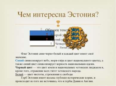 Чем интересна Эстония? Флаг Эстонии сине-черно-белый и каждый цвет имеет своё...