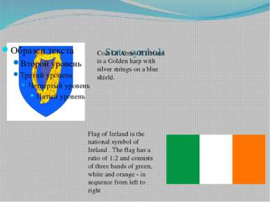 State symbols Coat Of Arms Of Ireland is a Golden harp with silver strings on...