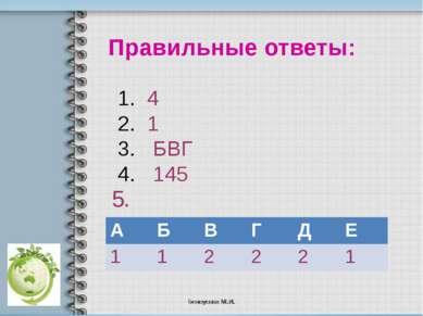Правильные ответы: 4 1 БВГ 145 5. А Б В Г Д Е 1 1 2 2 2 1