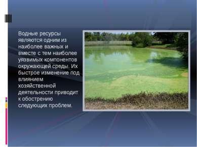 Водные ресурсы являются одним из наиболее важных и вместе с тем наиболее уязв...