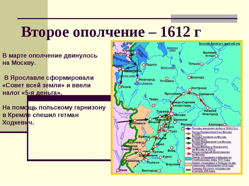 Второе ополчение – 1612 г В марте ополчение двинулось на Москву. В Ярославле ...