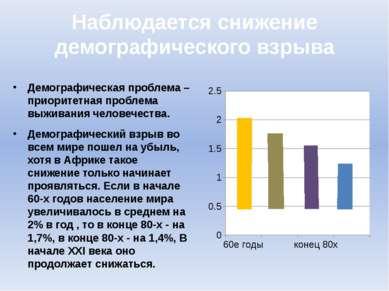 Наблюдается снижение демографического взрыва Демографическая проблема – приор...