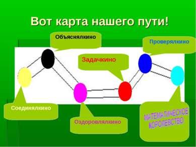 Вот карта нашего пути! Объяснялкино Оздоровлялкино Проверялкино Соединялкино ...