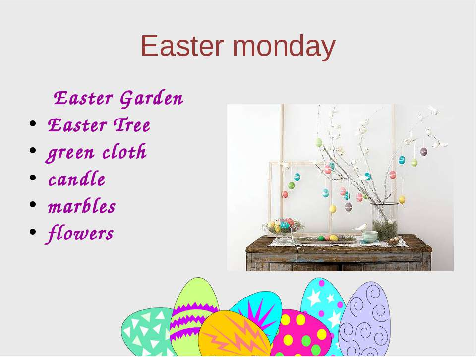 Easter monday Easter Garden Easter Tree green cloth candle marbles flowers