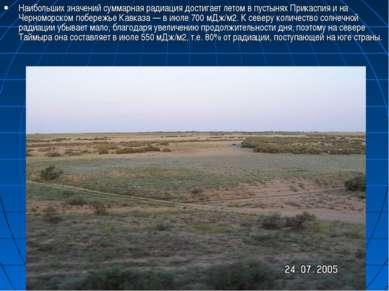 Наибольших значений суммарная радиация достигает летом в пустынях Прикаспия и...