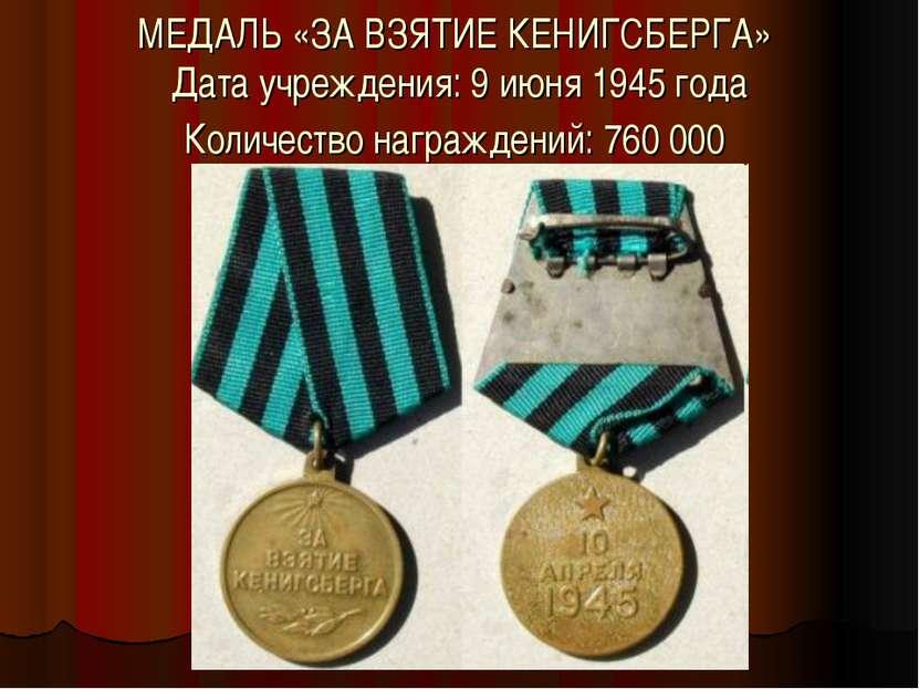 МЕДАЛЬ «ЗА ВЗЯТИЕ КЕНИГСБЕРГА» Дата учреждения: 9 июня 1945 года Количество н...