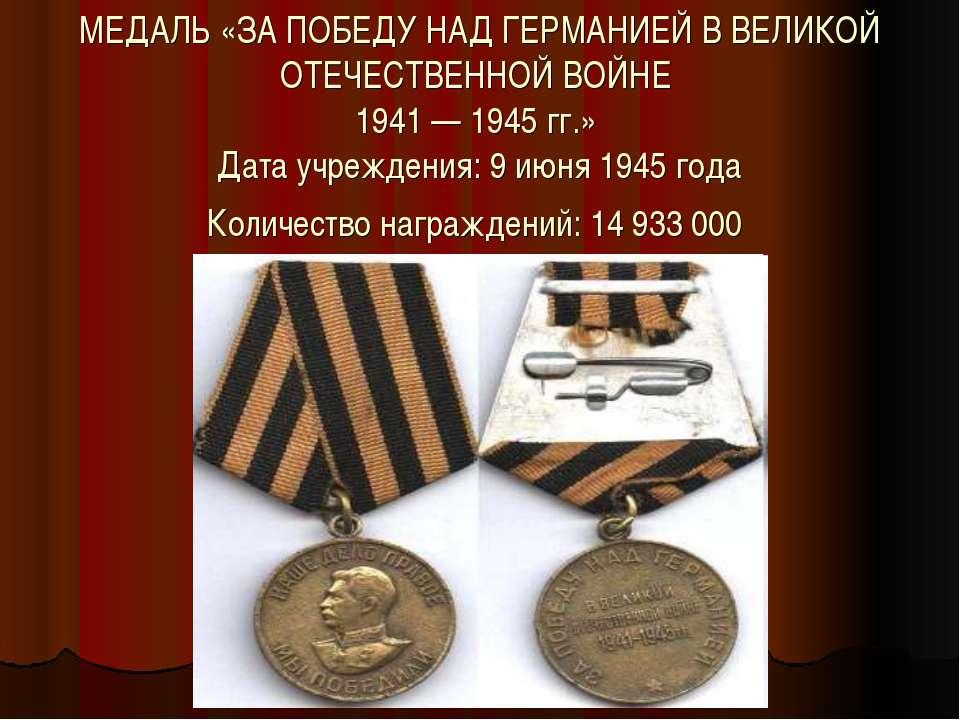 МЕДАЛЬ «ЗА ПОБЕДУ НАД ГЕРМАНИЕЙ В ВЕЛИКОЙ ОТЕЧЕСТВЕННОЙ ВОЙНЕ 1941 — 1945 гг....