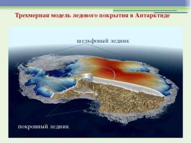 Трехмерная модель ледового покрытия в Антарктиде шельфовый ледник покровный л...