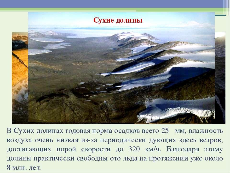 Сухие долины В Сухих долинах годовая норма осадков всего 25 мм, влажность воз...