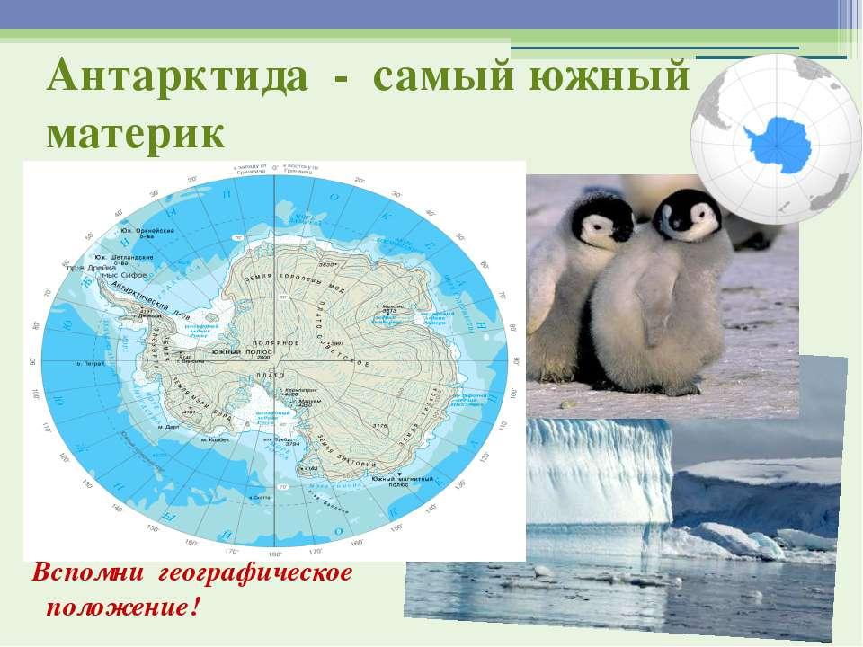 Антарктида - самый южный материк Вспомни географическое положение!