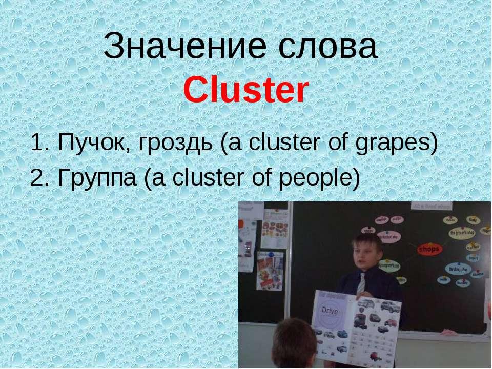 Значение слова Cluster Пучок, гроздь (a cluster of grapes) Группа (a cluster ...