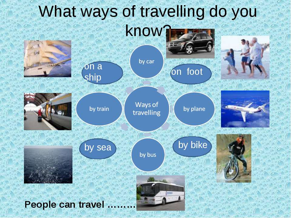 What ways of travelling do you know? by sea by bike on foot on a ship People ...