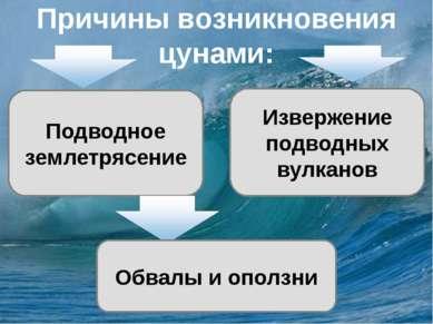 Причины возникновения цунами: Подводное землетрясение Извержение подводных ву...