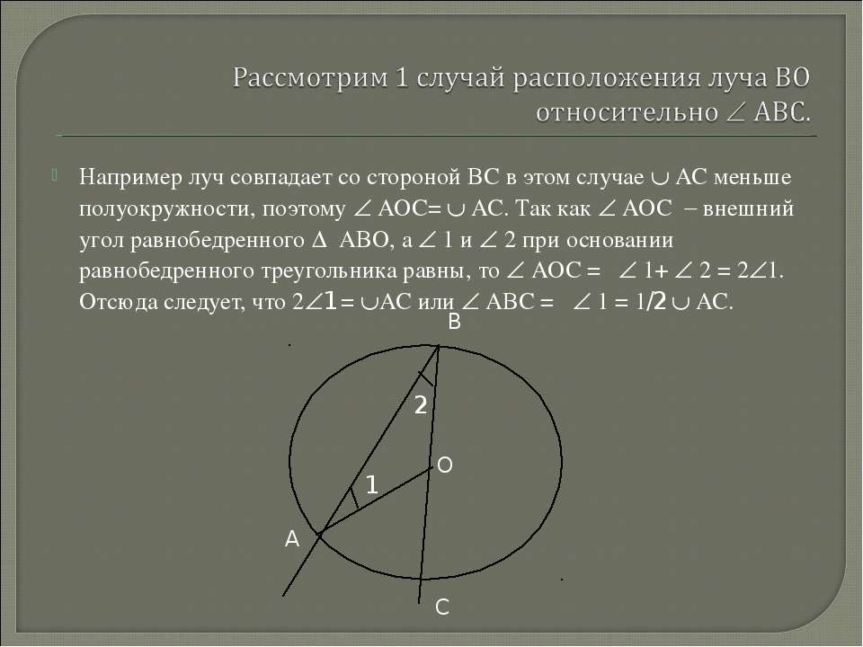 Например луч совпадает со стороной ВС в этом случае АС меньше полуокружности,...