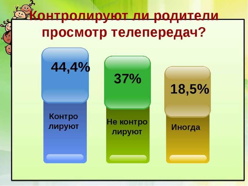 Контролируют ли родители просмотр телепередач? Контро лируют 44,4% Иногда 18,...