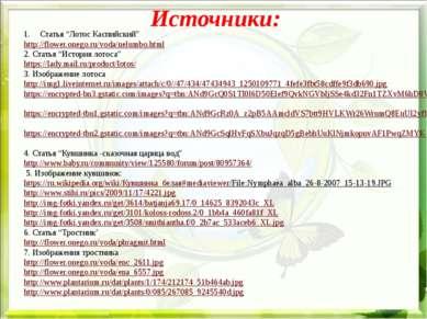 """Источники: Статья """"Лотос Каспийский"""" http://flower.onego.ru/voda/nelumbo.html..."""