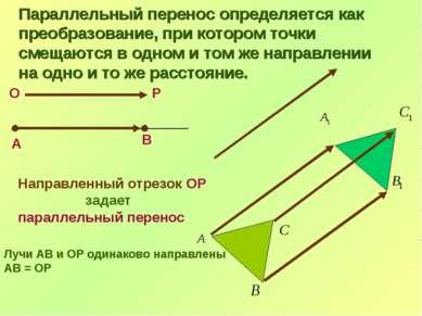 В О Р А Направленный отрезок ОР задает параллельный перенос Лучи АВ и ОР один...