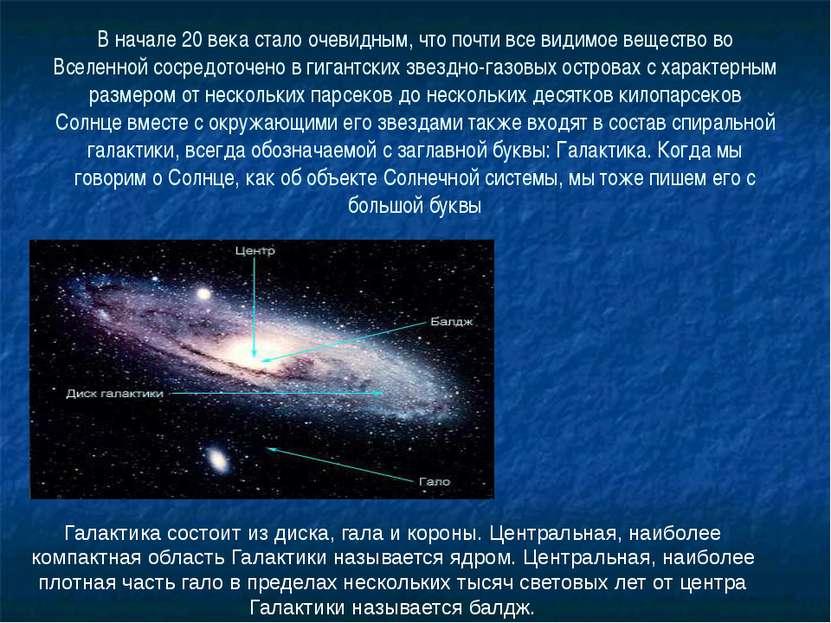 В начале 20 века стало очевидным, что почти все видимое вещество во Вселенной...