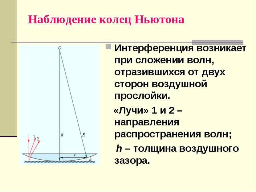 Наблюдение колец Ньютона Интерференция возникает при сложении волн, отразивши...