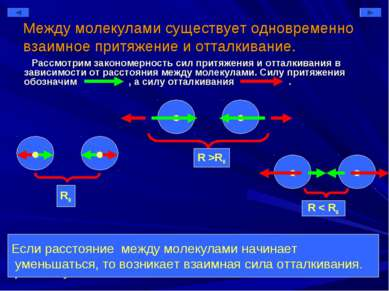 Между молекулами существует одновременно взаимное притяжение и отталкивание. ...