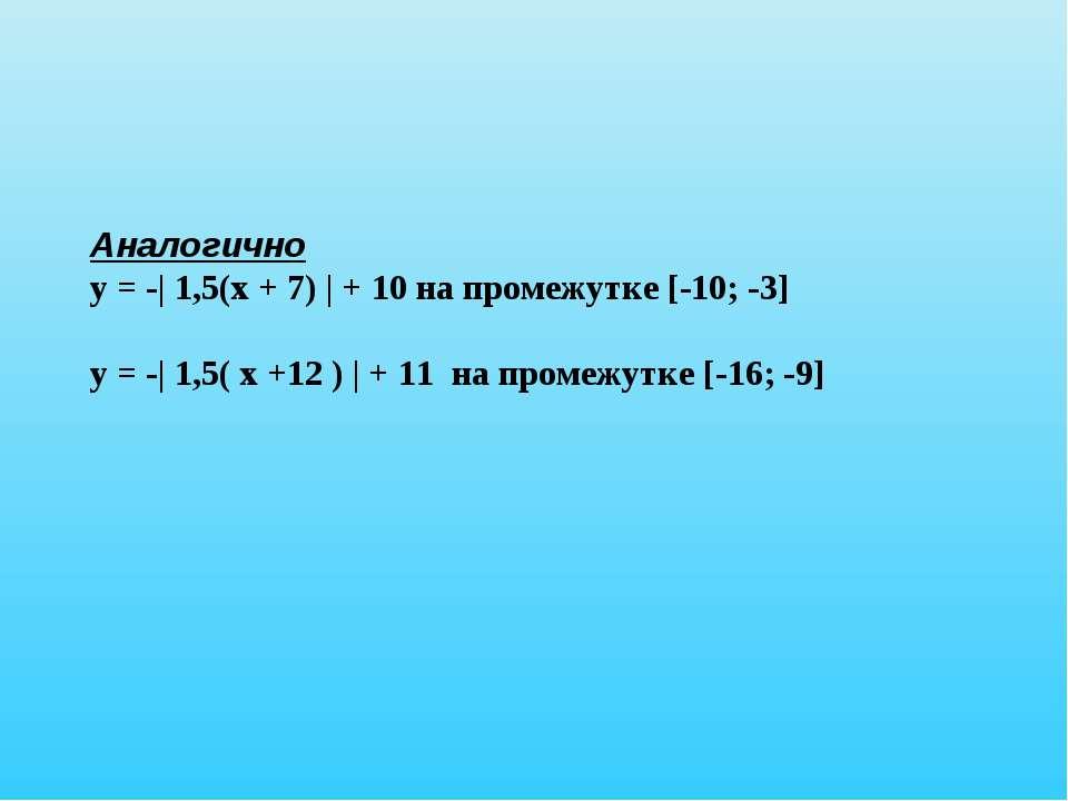 Аналогично у = -| 1,5(х + 7) | + 10 на промежутке [-10; -3] у = -| 1,5( х +12...