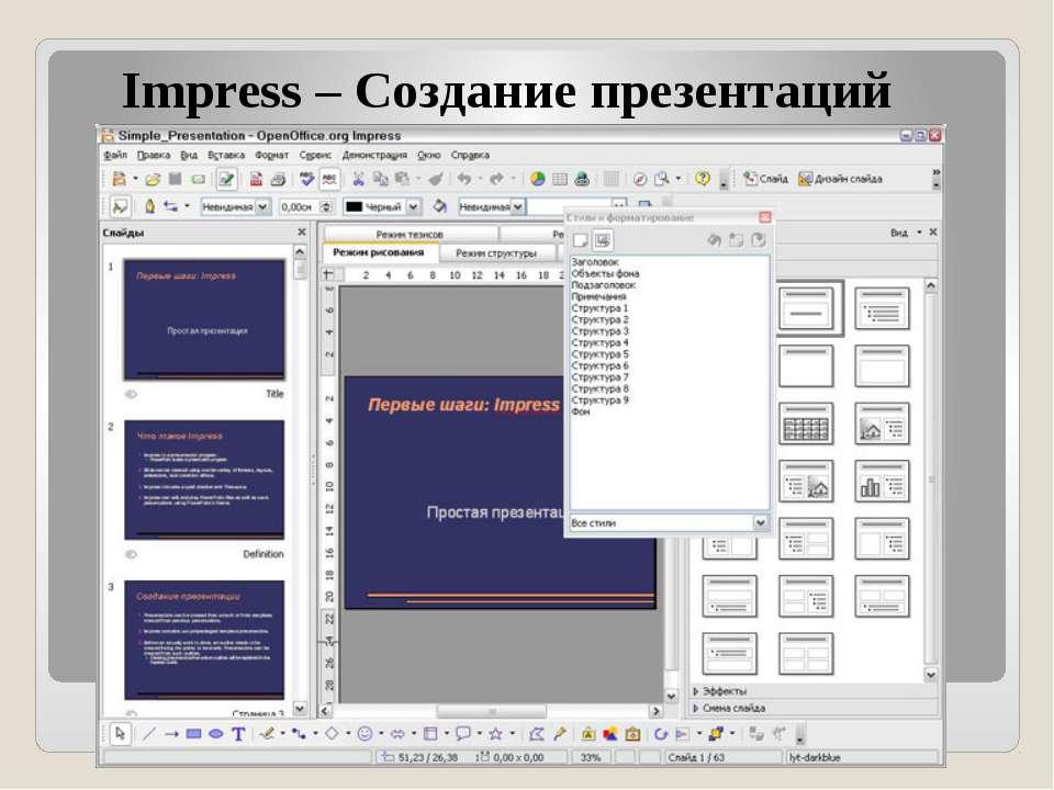 Impress – Создание презентаций