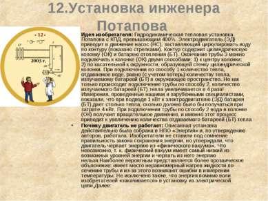 12.Установка инженера Потапова Идея изобретателя: Гидродинамическая тепловая ...